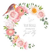 Cute floral vector round frame with ranunculus, peony, rose, green plants and small bird on white. Peachy, white and yellow flowers. Crescent shape bouquet. All elements are isolated and editable.