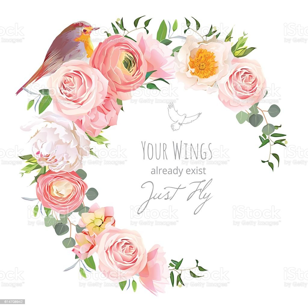 Cute floral vector frame with ranunculus, peony, rose, robin bird vector art illustration