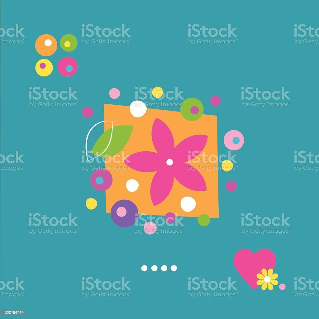 Jolie Fleur Forme De Cœur Et Des Points Carte De Voeux Et