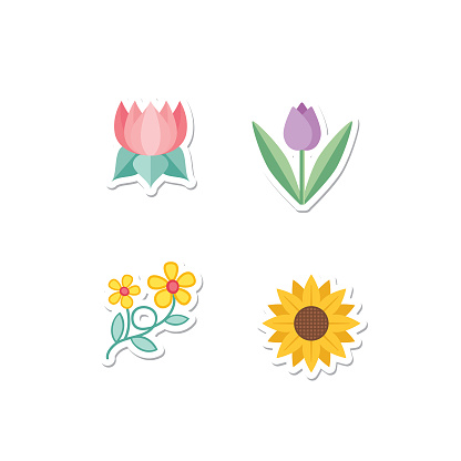 Cute Flower Icon In Flat Design - Cherry Blossoms