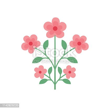 istock Cute Flower Icon In Flat Design - Pink Posy 1142625220