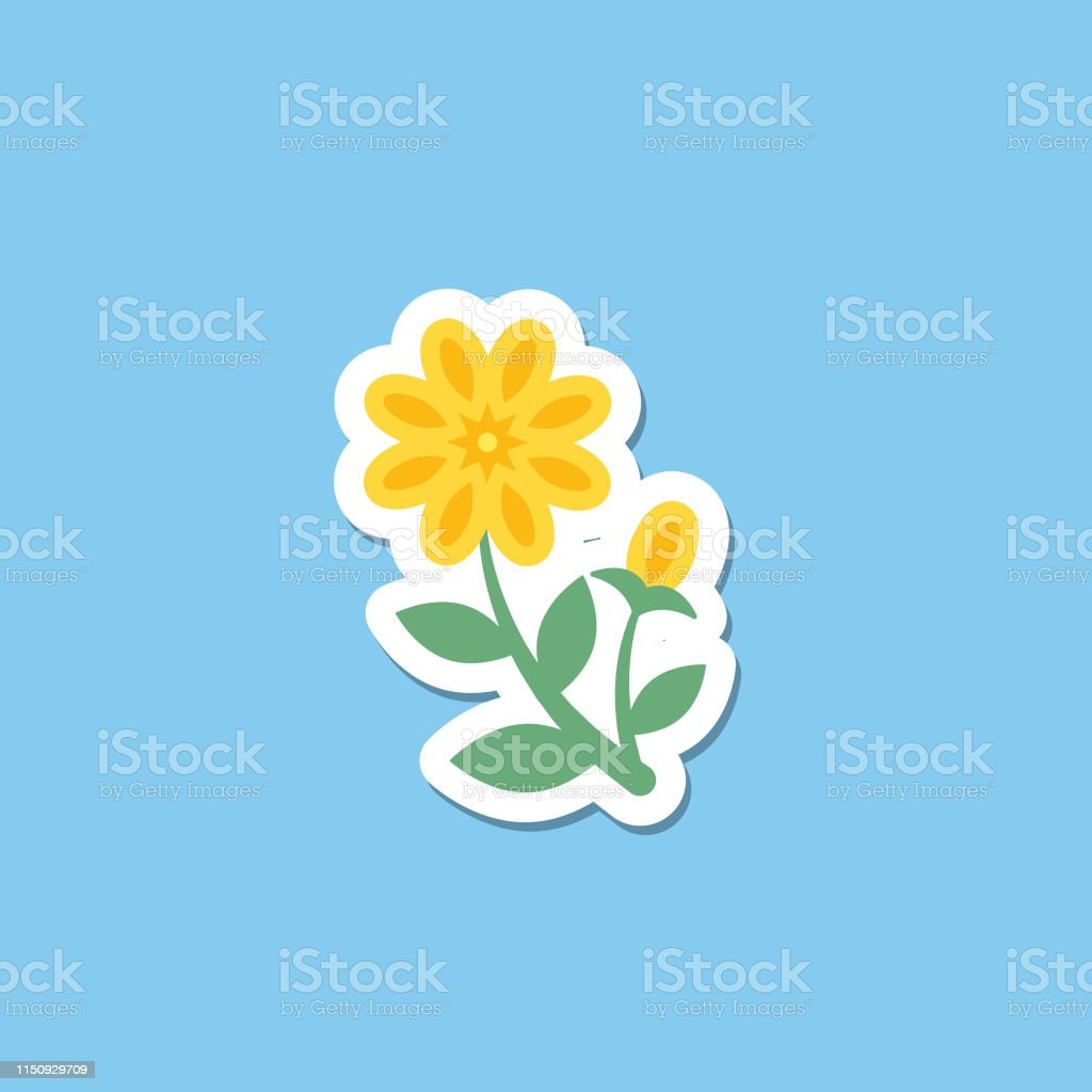 2d10c75dd5aa5 Cute Flower Icon In Flat Design - Yellow Buttercup royalty-free cute flower  icon in