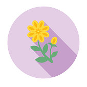 Cute Flower Icon In Flat Design - Yellow Calendula