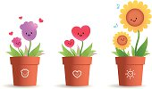 Vector illustration - Cute Flower Pot For Mother's Day.