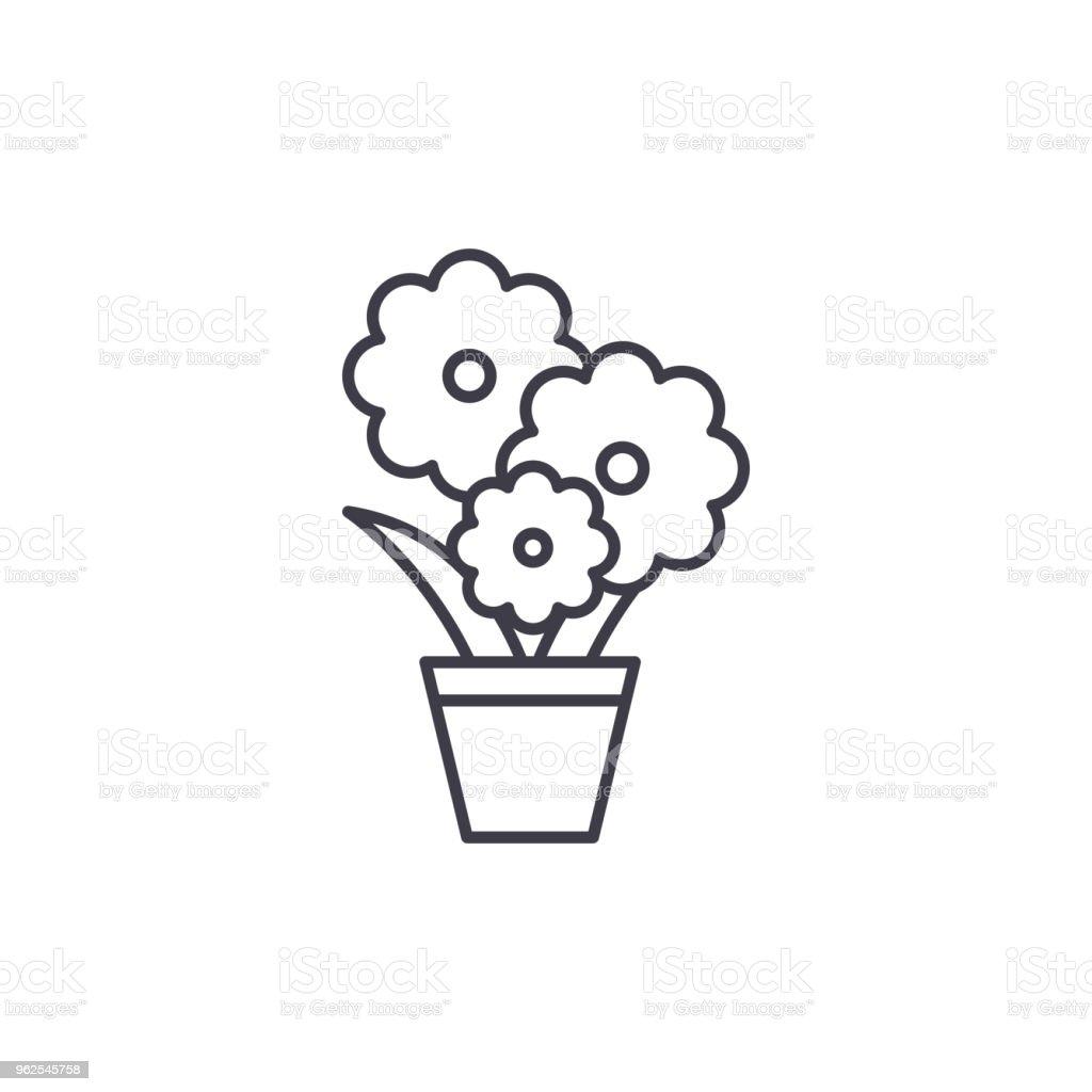 Concept Dicone Cute Flower Pot Line Signe De Vecteur Plat Pot Fleur