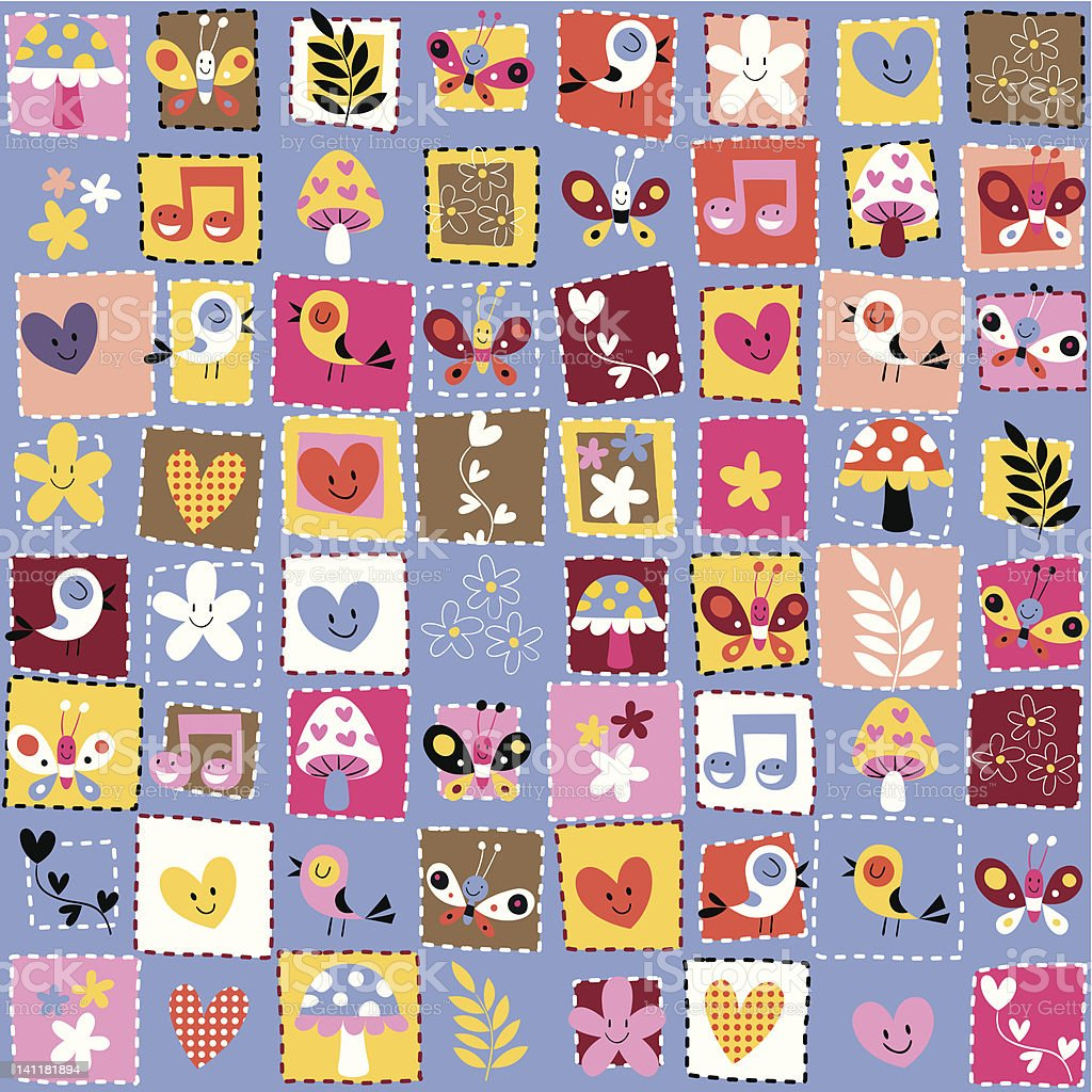 cute flowers, birds, hearts pattern royalty-free stock vector art
