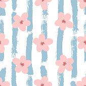 Cute flowers on striped background painted with rough brush. Floral seamless pattern. Grunge, graffiti, watercolour, sketch. Pink, white, blue color. Vector illustration.