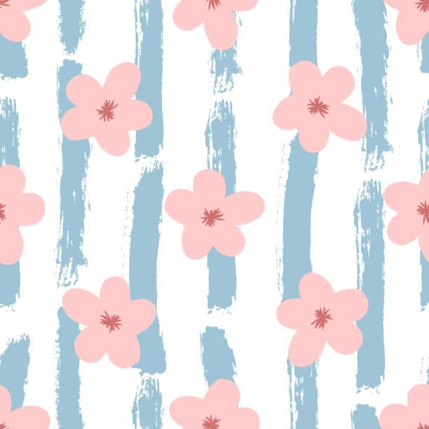 stockillustraties, clipart, cartoons en iconen met leuke bloemen op gestreepte achtergrond geschilderd met ruwe borstel. naadloze bloemmotief. grunge, graffiti, aquarel, schets. - baby dirty