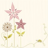 Floral card with seamless background.  AI, EPS, SVG and JPG.