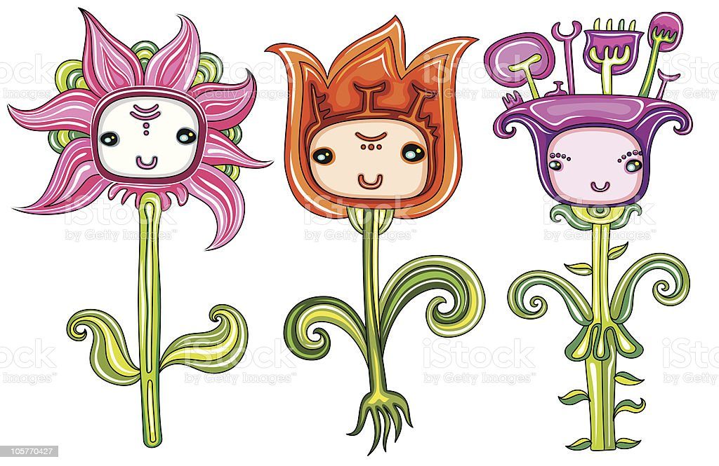 Cute Flowers With Funny Faces Royalty Free Stock Vector Art