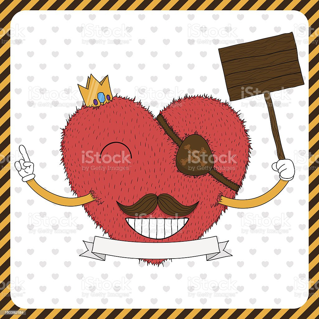 Cute fluffy heart with mustache royalty-free stock vector art