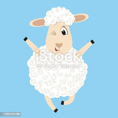 istock Cute fluffy sheep 1295203789