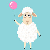 Cute fluffy sheep cartoon character. Design element for greeting card or invitation