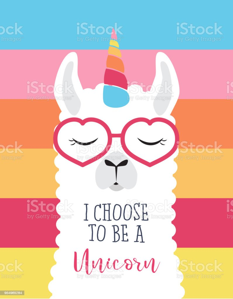 Cute fluffy unicorn llama (alpaca) - Royalty-free Alpaca stock vector