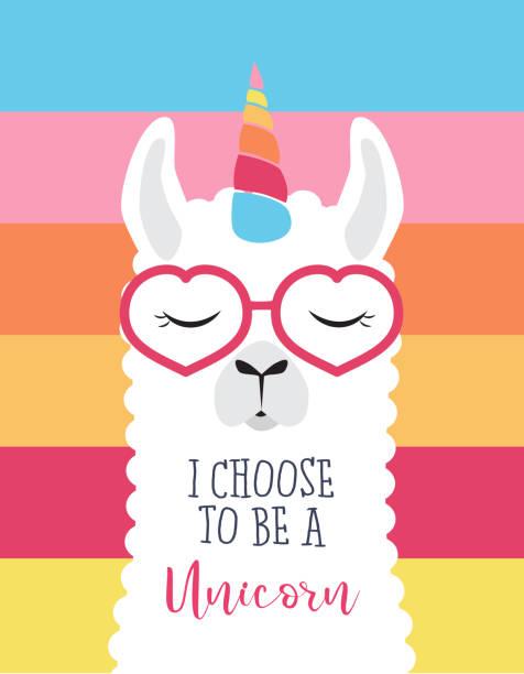 cute fluffy unicorn llama (alpaca) - unicorns stock illustrations