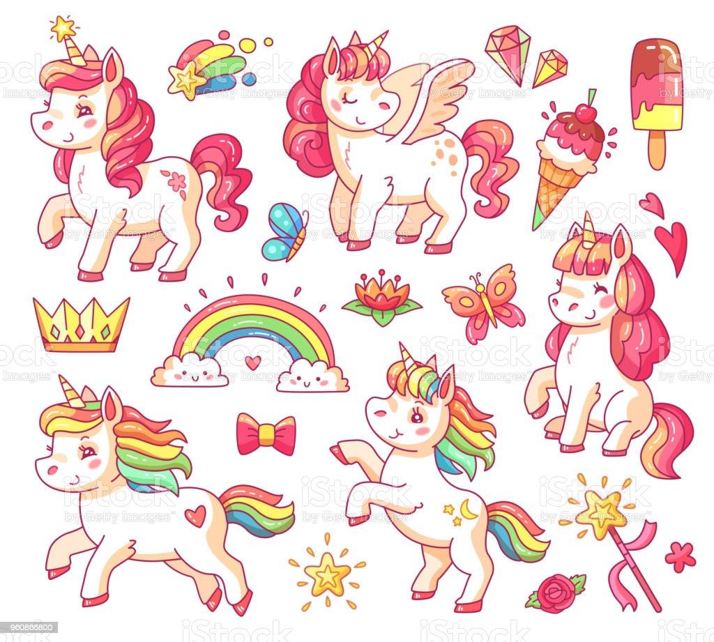 Niedliche Fliegende Baby Rainbow Einhorn Mit Goldenen Sternen Und