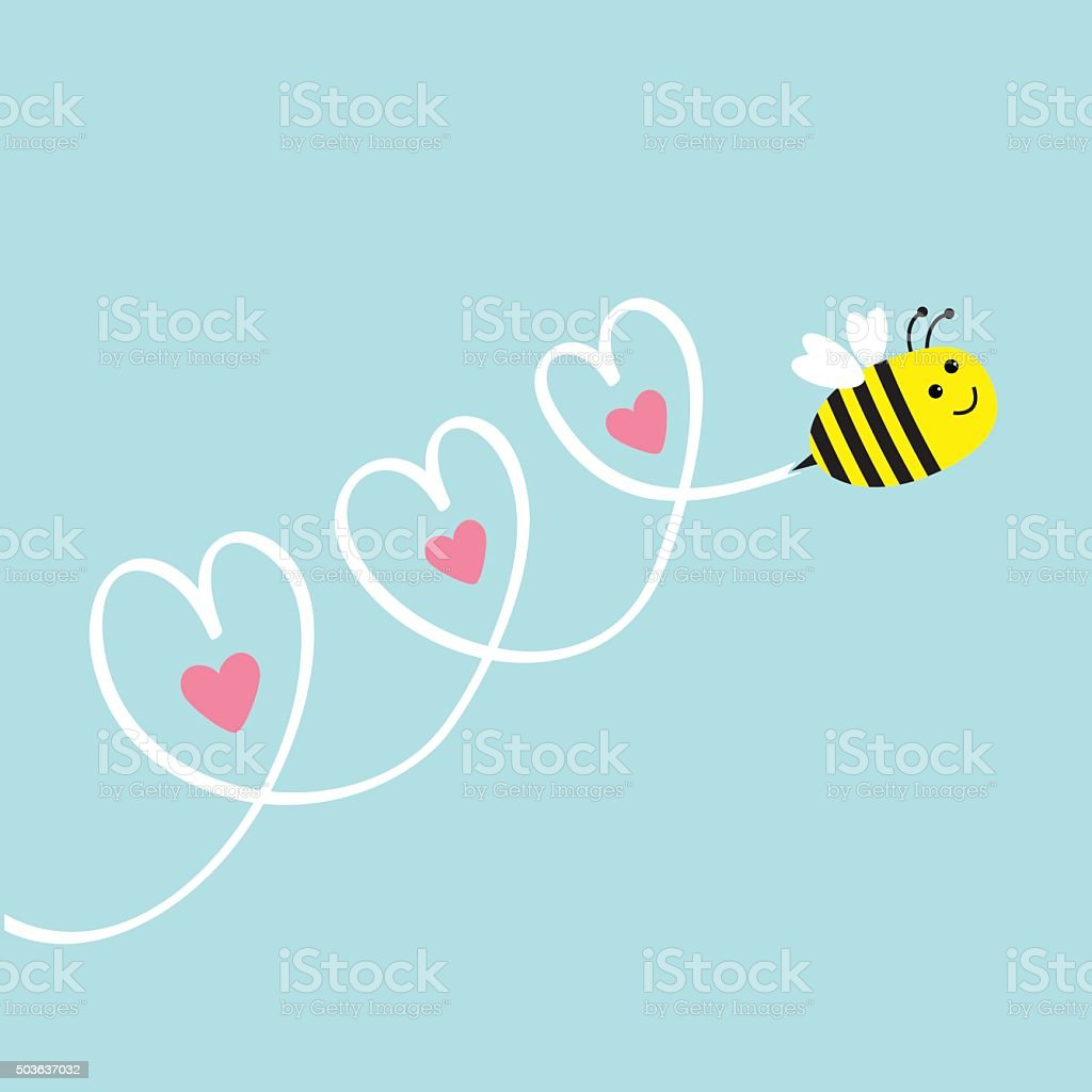 Cute flying bee. Three hearts in the sky. Flat vector art illustration