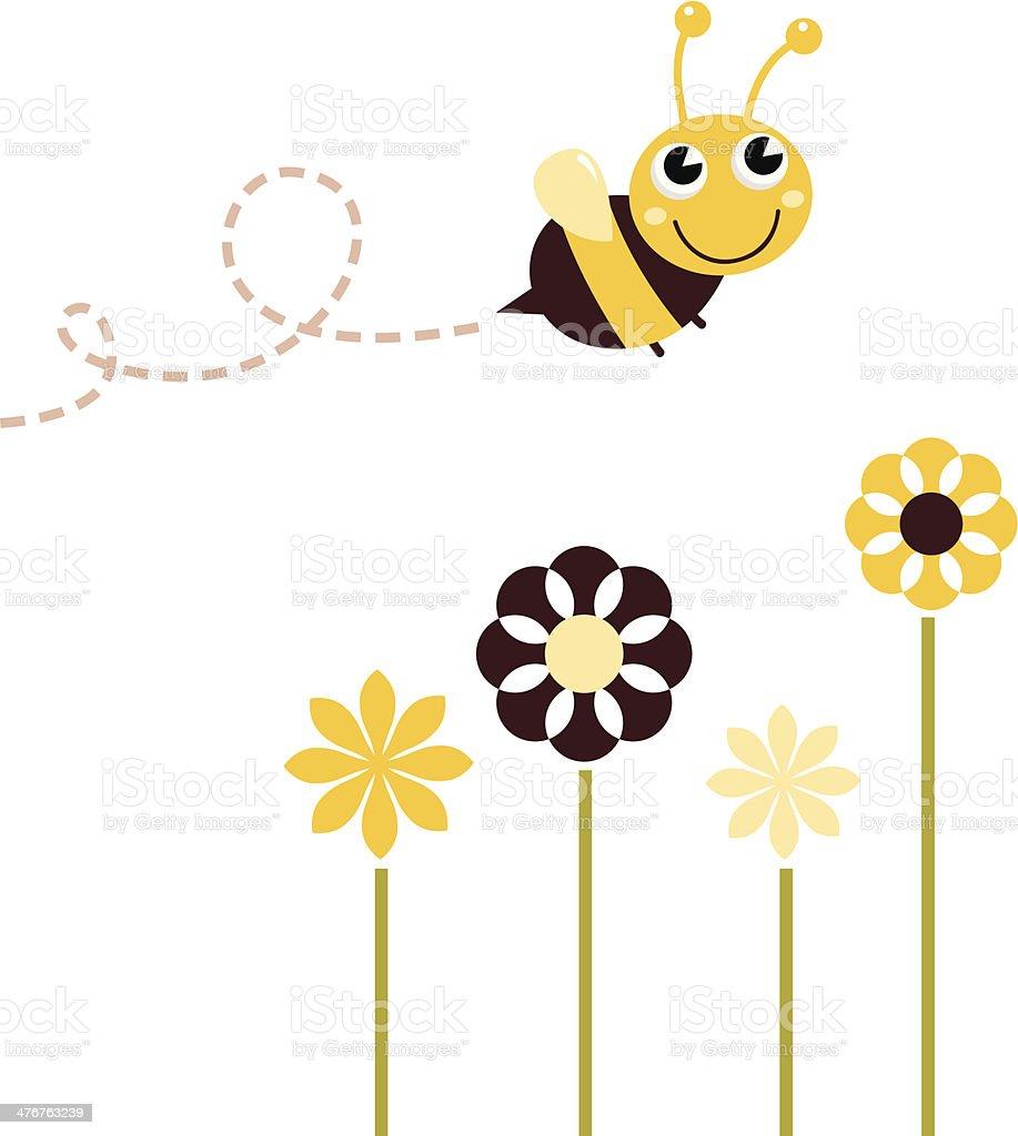 Süße fliegende Biene und Blumen, isoliert auf weiss – Vektorgrafik