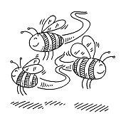 istock Cute Flying Cartoon Bees Drawing 1309056113