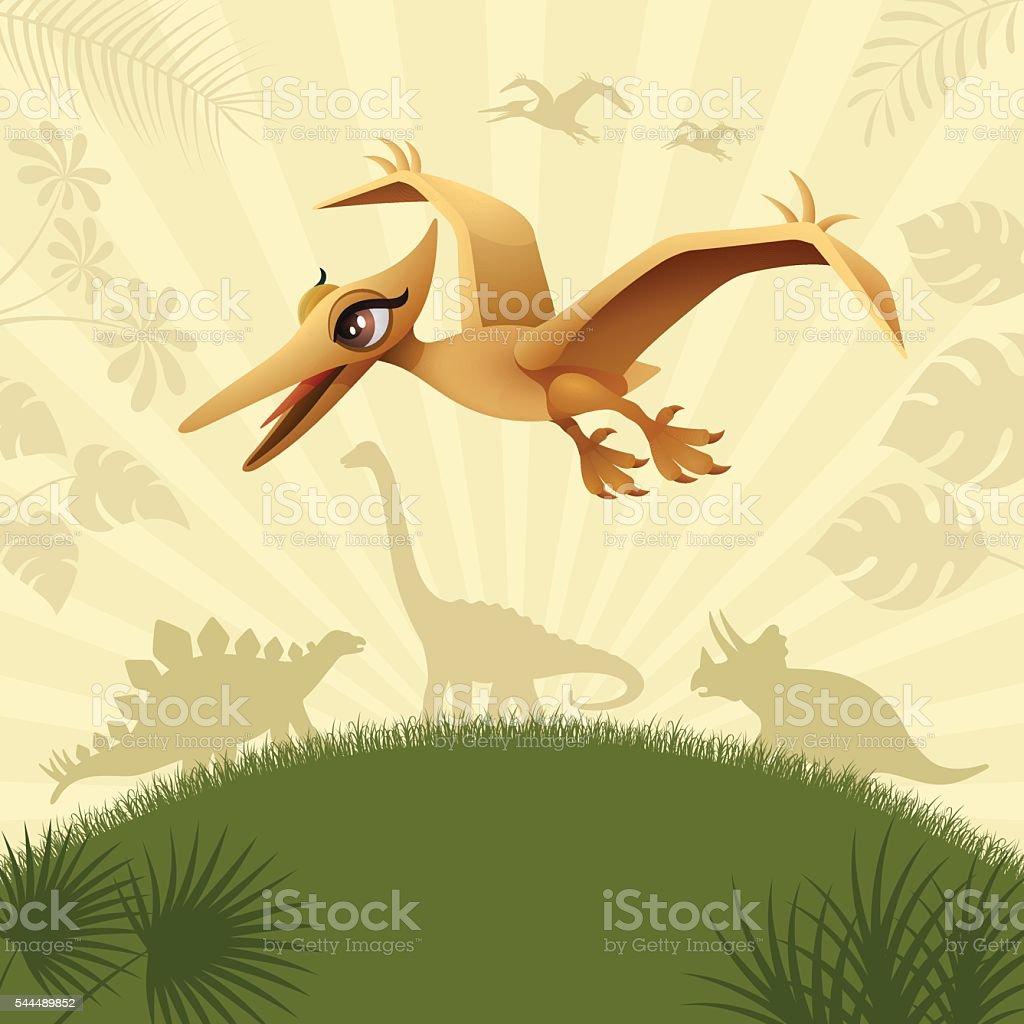 Cute Flying Dinosaur vector art illustration