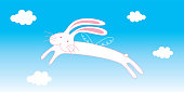 cute flying rabbit angel greeting card vector