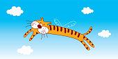 cute flying tiger angel greeting card vector