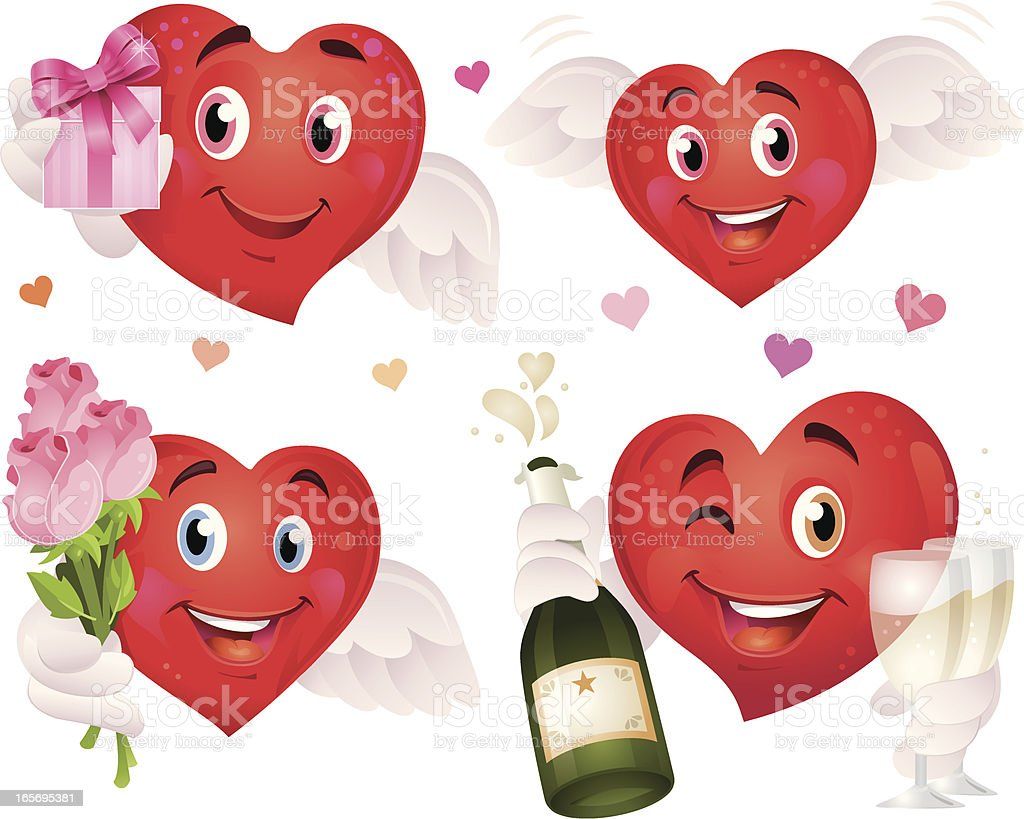 Cute Flying Valentine's Day Heart with Gift, Champagne and Roses royalty-free cute flying valentines day heart with gift champagne and roses stock vector art & more images of bottle