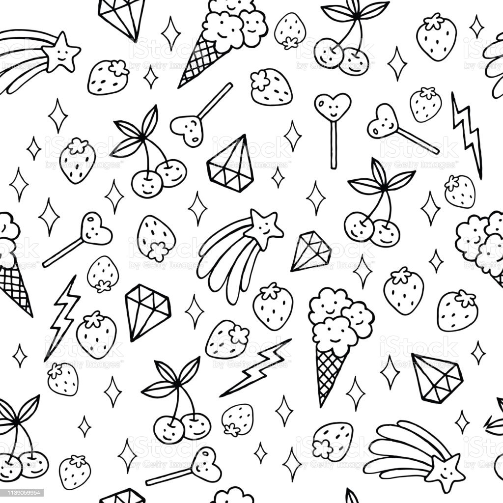 Cute Food Diamonds And Stars Coloring Page With Seamless Pattern