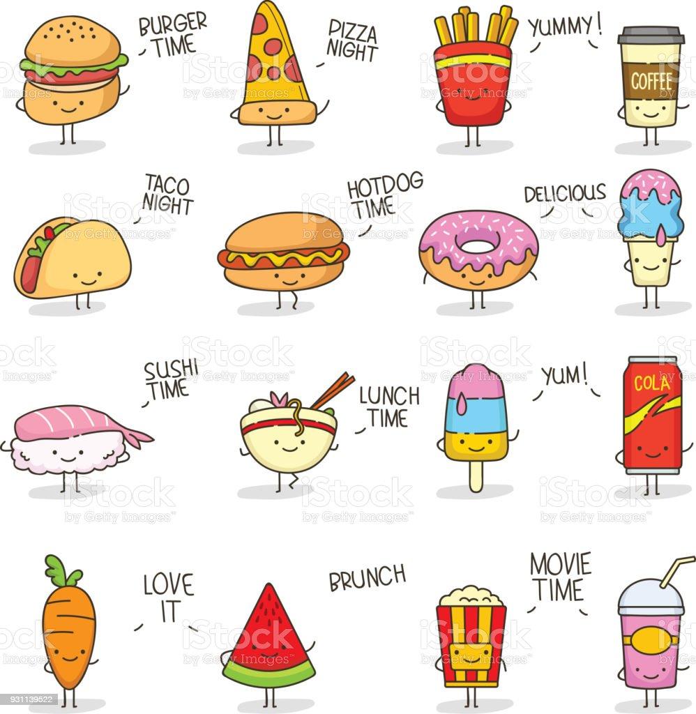 Ilustración De Comida Cute Doodle Kawaii Y Más Banco De Imágenes De