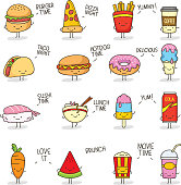 Set of colorful cute doodle food character.