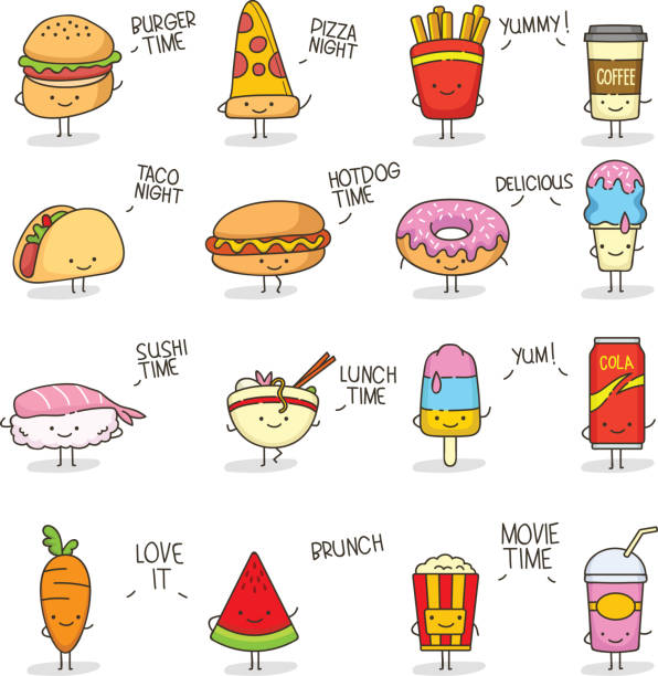 cute food doodle kawaii - antropomorficzny stock illustrations