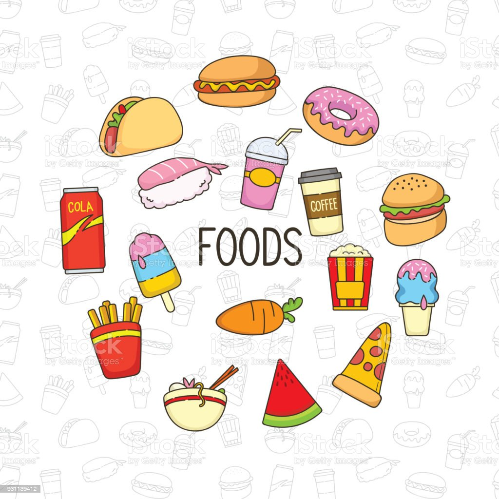 Cute Food Doodle Stock Illustration - Download Image Now ...