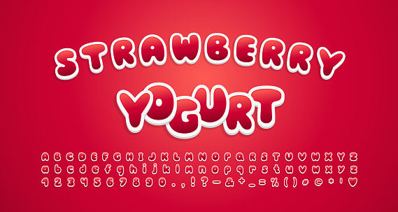 Cute food font. Cartoon alphabet and numbers sweet strawberry color, 3d sticker style. Vector font set