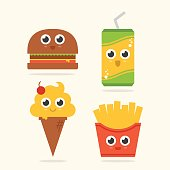 Cute food with faces, fries, soda, hamburger and ice cream cone