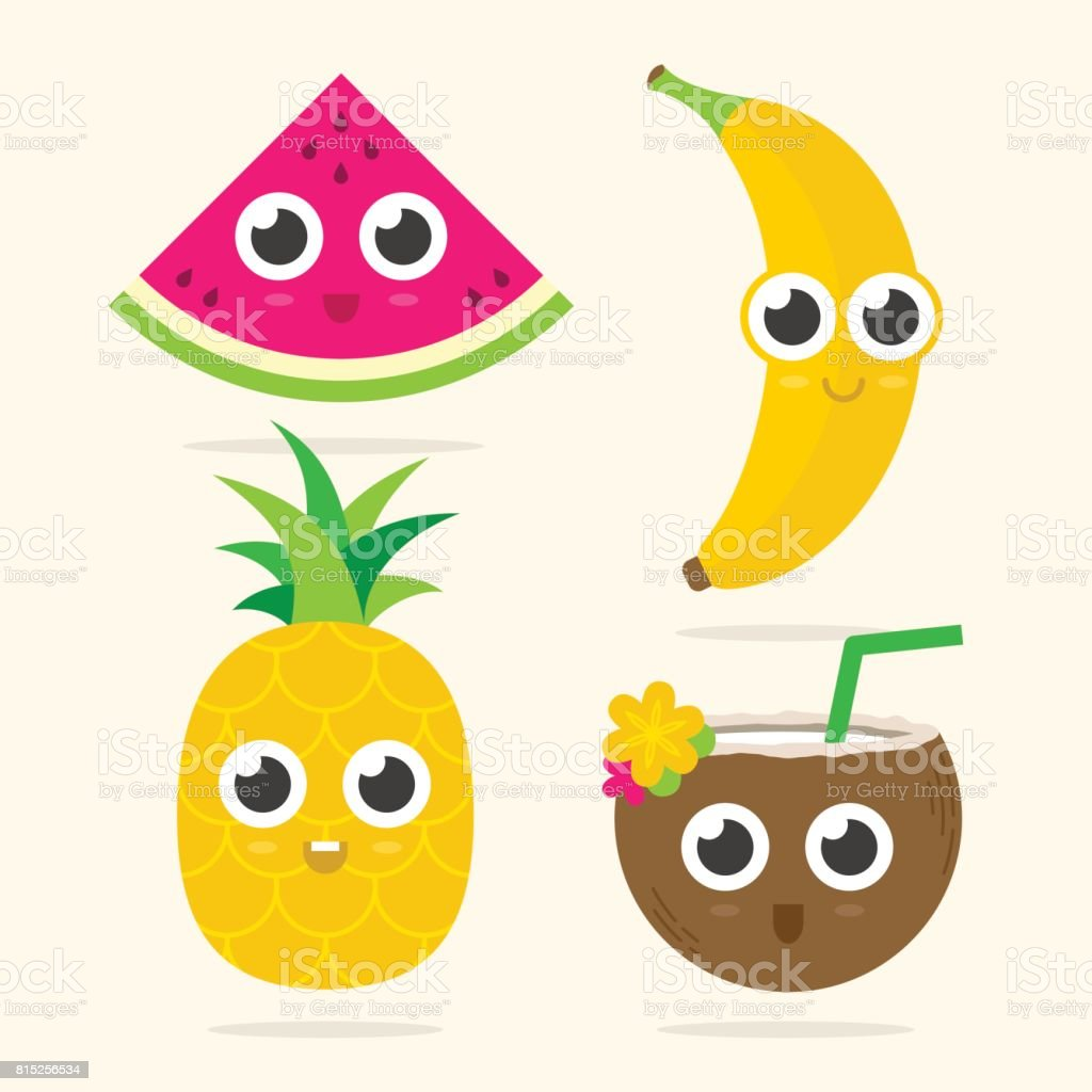 Cute Food With Faces Watermelon Banana Pineapple And Coconut Royalty Free