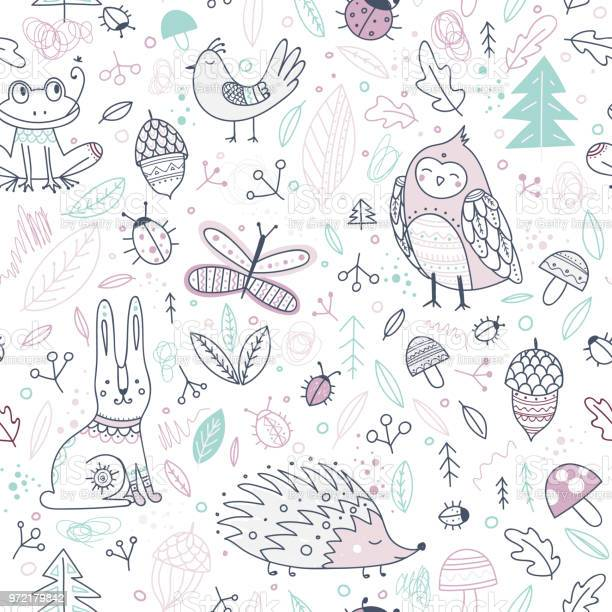 Cute forest animals and elements vector seamless pattern vector id972179842?b=1&k=6&m=972179842&s=612x612&h=sj8tbi7heak9ohhw4piok2nvxpkuqtoopemqpcony5c=
