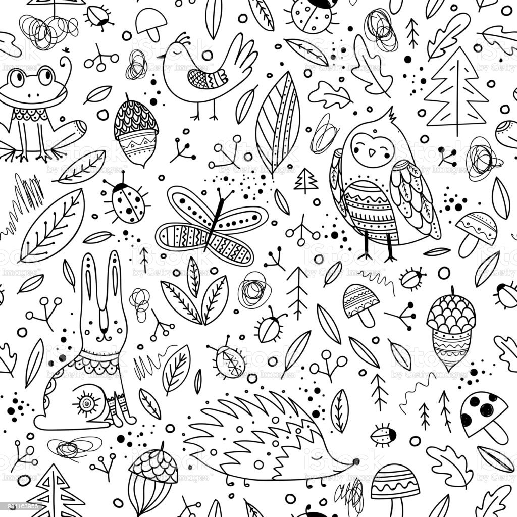 Cute forest animals and elements vector seamless pattern. vector art illustration