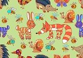 Cute forest animals. Elements of wild animals. Seamless.