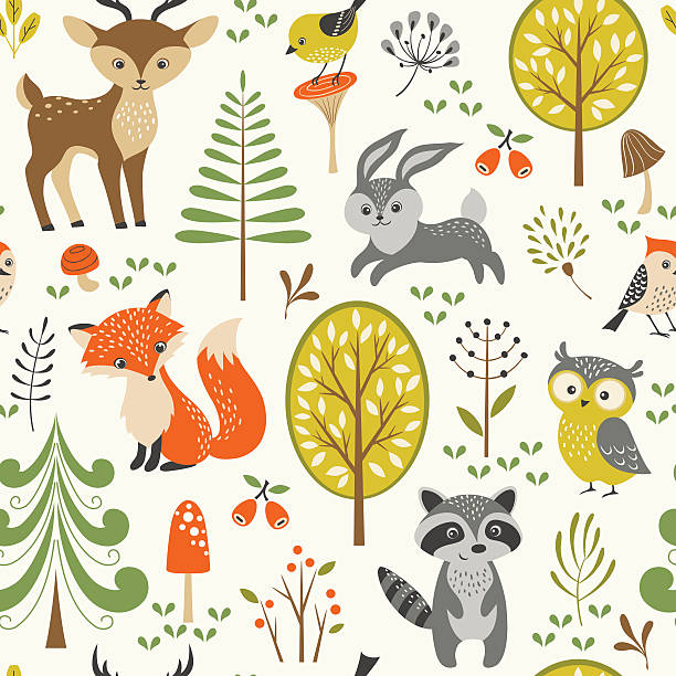 Cute forest pattern Seamless summer forest pattern with cute woodland animals, trees, mushrooms and berries. woodland stock illustrations