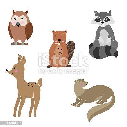 Vector art: cute forest animals.