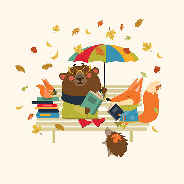 stockillustraties, clipart, cartoons en iconen met cute fox and funny bear reading books on bench - mini amusementpark