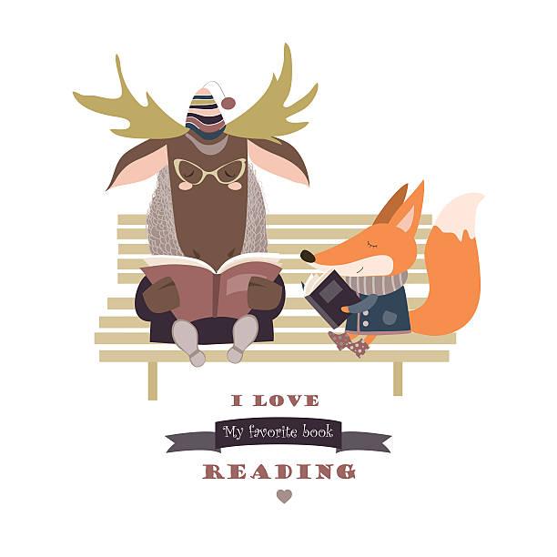 stockillustraties, clipart, cartoons en iconen met cute fox and funny elk reading books on bench - mini amusementpark