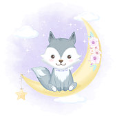 Cute fox and moon hand drawn cartoon animal watercolor illustration