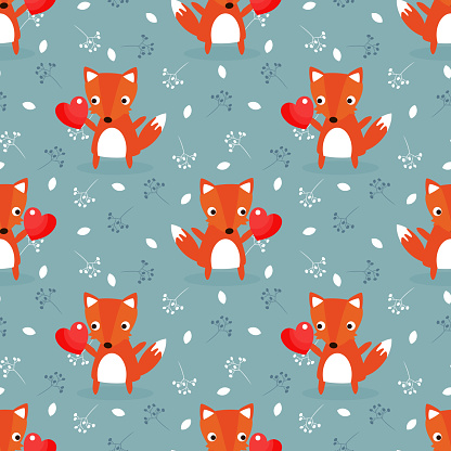 Cute fox and red heart for valentine seamless pattern.
