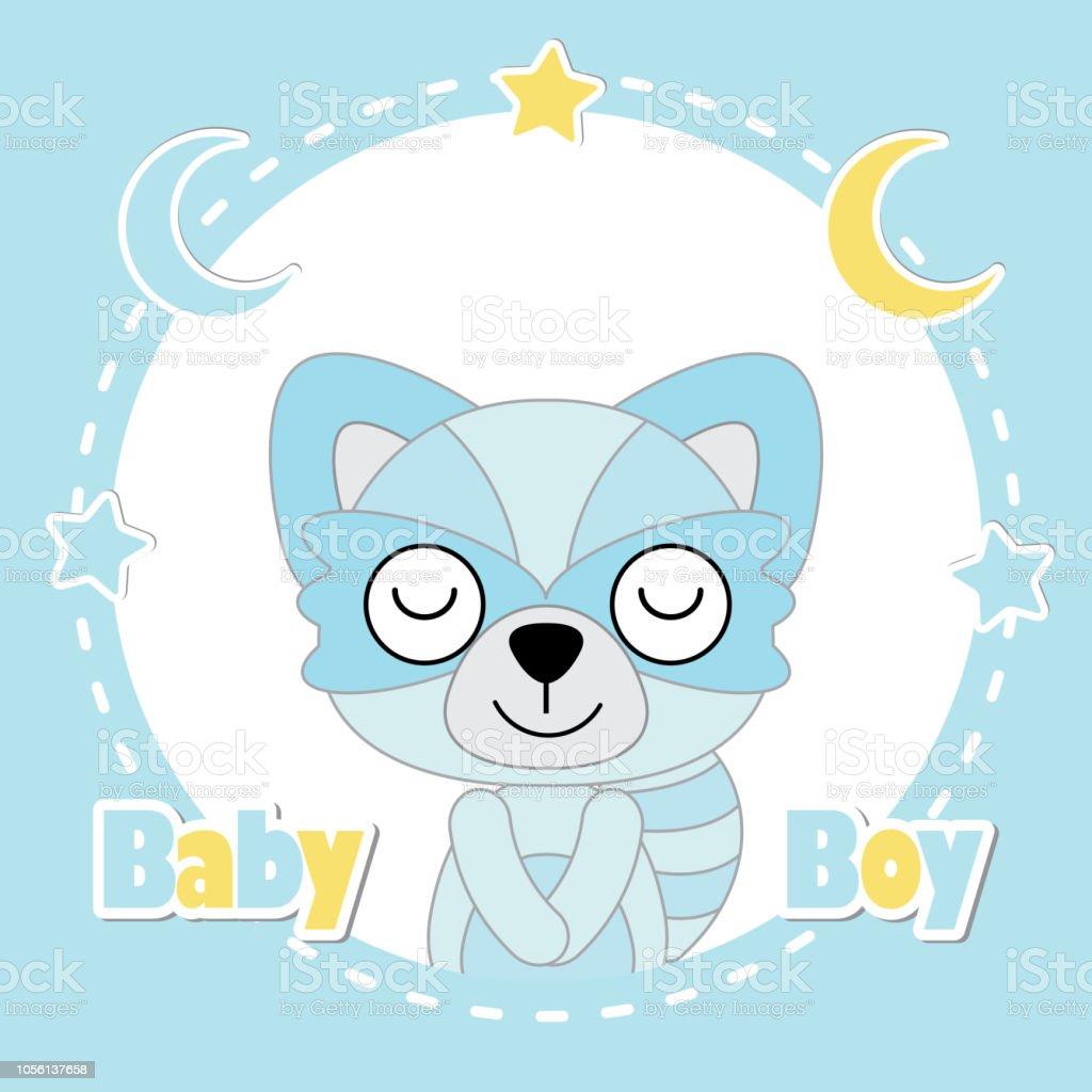 Niedlichen Fuchs Junge Schlaft Auf Blauen Rahmen Geeignet Fur