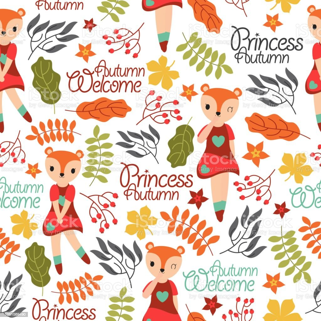 Cute Fox Girl And Autumn Elements Suitable For Birthday Kid Wallpaper