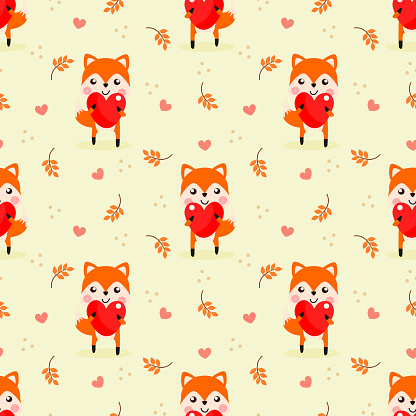 Cute fox hold a big heart seamless pattern.