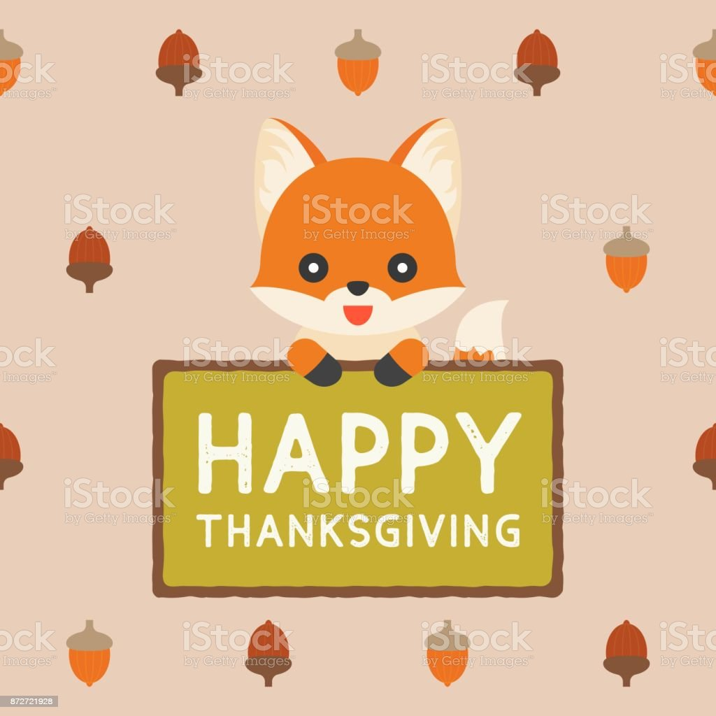 Cute Fox Holding Sign Happy Thanksgiving On Acorn Pattern Background Stock Illustration Download Image Now Istock