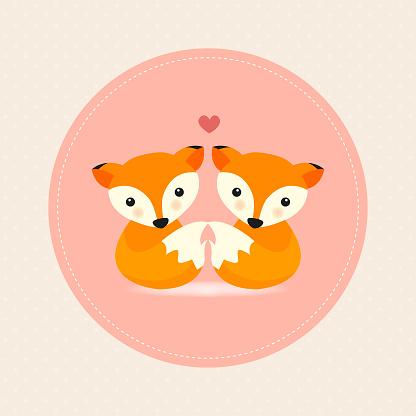 Cute fox in love. Happy Valentine's day postcard. Vector illustration