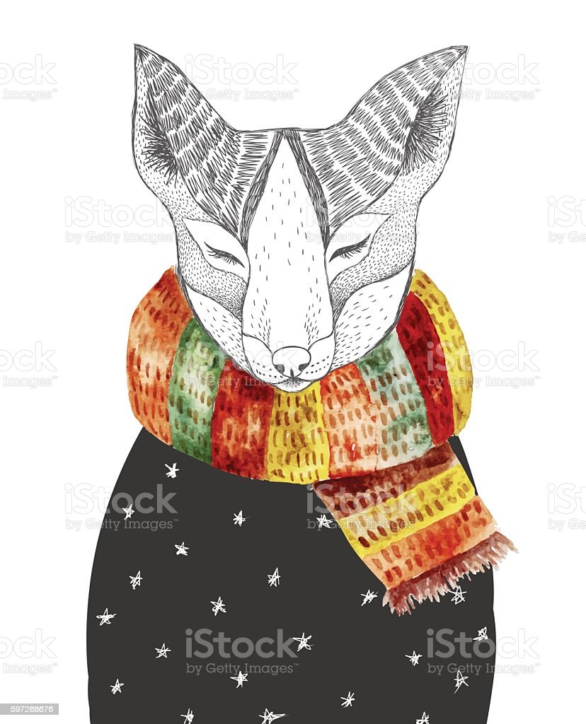 Cute fox in scarf cute fox in scarf – cliparts vectoriels et plus d'images de abstrait libre de droits